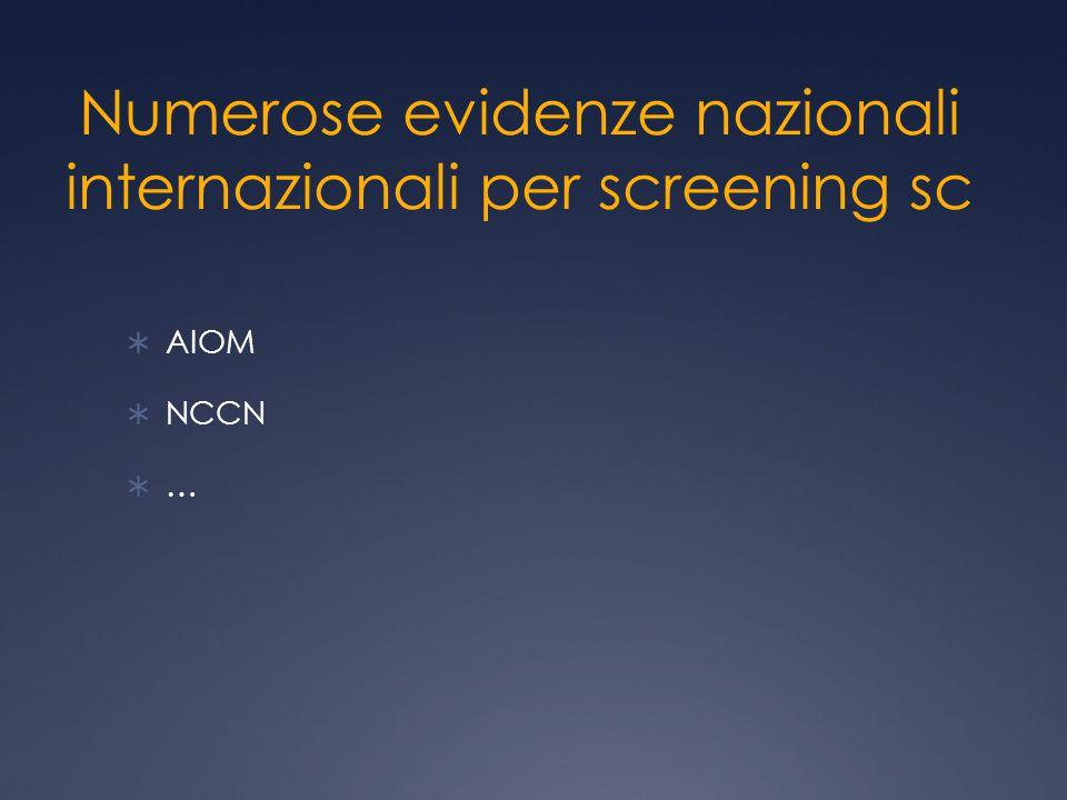 Numerose evidenze nazionali internazionali per screening sc  AIOM  NCCN  …