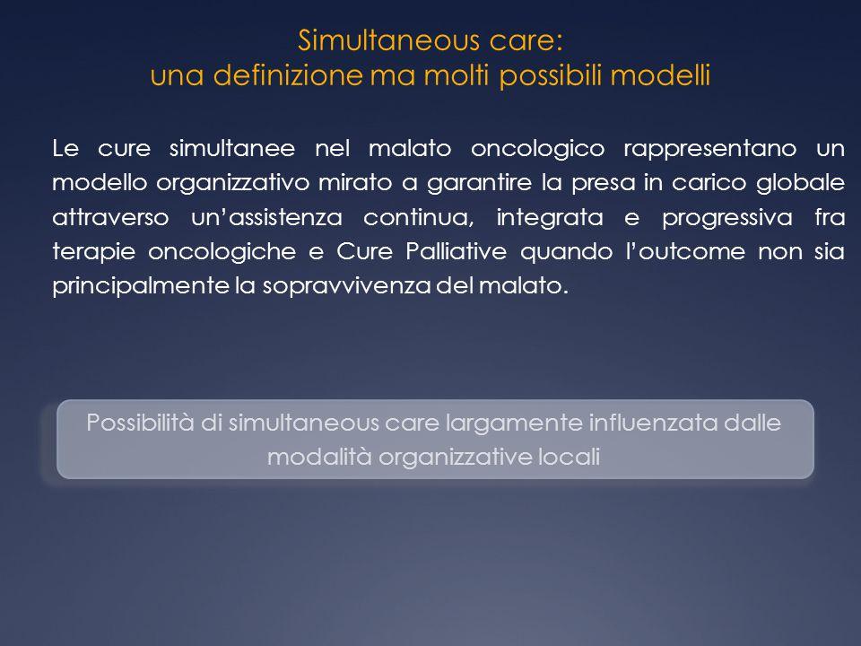 Simultaneous care: una definizione ma molti possibili modelli Possibilità di simultaneous care largamente influenzata dalle modalità organizzative loc