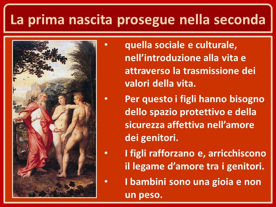 La prima nascita prosegue nella seconda quella sociale e culturale, nell'introduzione alla vita e attraverso la trasmissione dei valori della vita. Pe