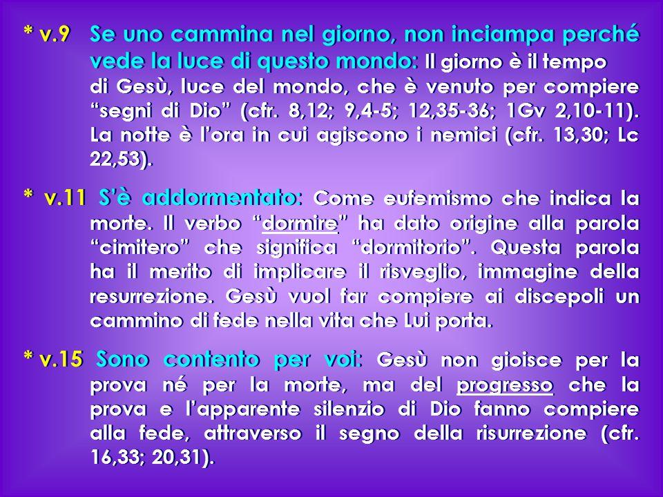 * v.9 Se uno cammina nel giorno, non inciampa perché vede la luce di questo mondo: Il giorno è il tempo di Gesù, luce del mondo, che è venuto per comp