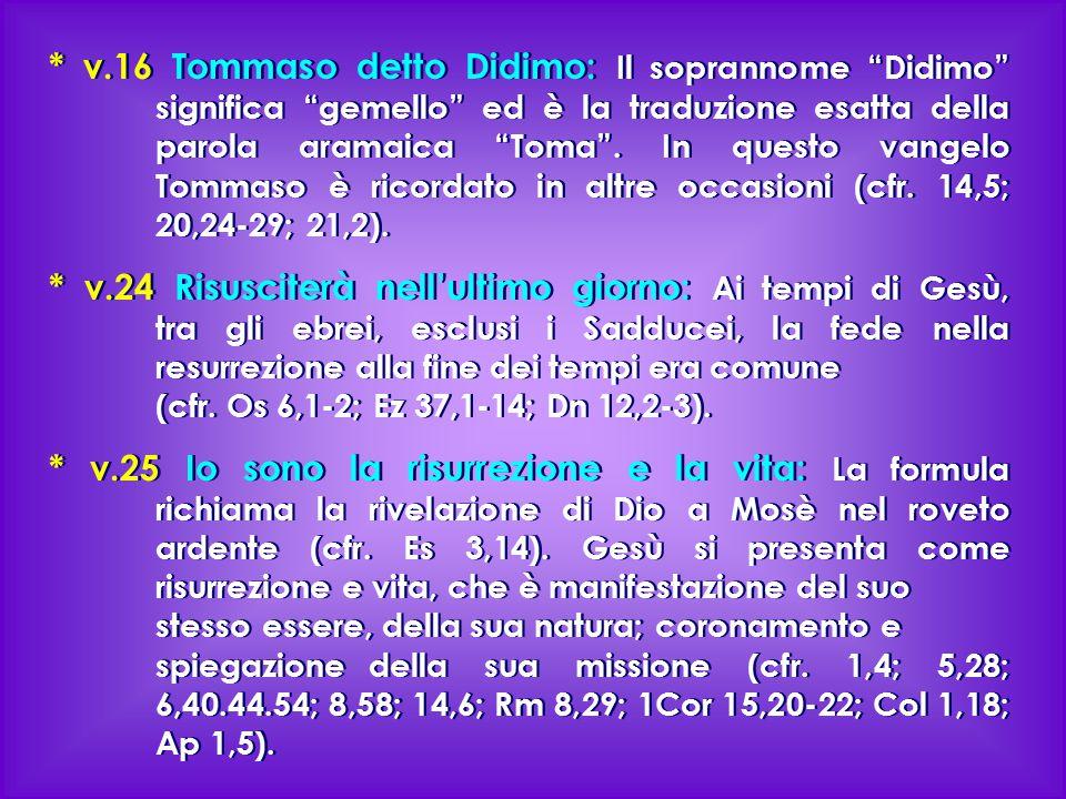 """* v.16 Tommaso detto Didimo: Il soprannome """"Didimo"""" significa """"gemello"""" ed è la traduzione esatta della parola aramaica """"Toma"""". In questo vangelo Tomm"""