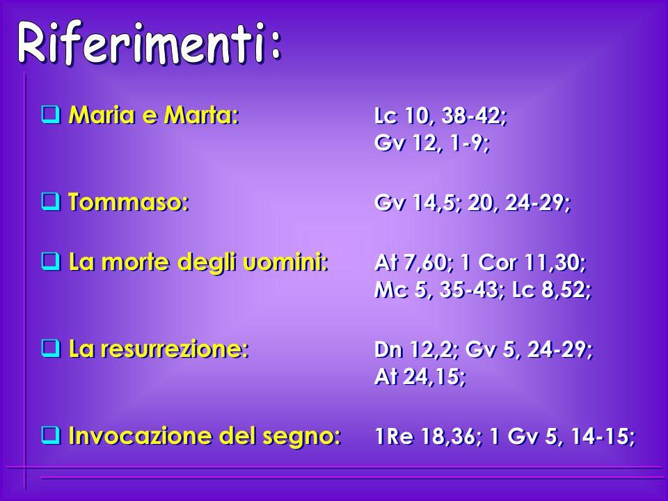  Maria e Marta: Lc 10, 38-42; Gv 12, 1-9;  Tommaso: Gv 14,5; 20, 24-29;  La morte degli uomini: At 7,60; 1 Cor 11,30; Mc 5, 35-43; Lc 8,52;  La re