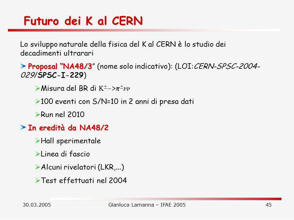 30.03.2005Gianluca Lamanna – IFAE 200545 Futuro dei K al CERN Lo sviluppo naturale della fisica del K al CERN è lo studio dei decadimenti ultrarari Proposal NA48/3 Proposal NA48/3 (nome solo indicativo): (LOI:CERN-SPSC-2004- 029/SPSC-I-229)  Misura del BR di  ±  ±  100 eventi con S/N=10 in 2 anni di presa dati  Run nel 2010 In eredità da NA48/2  Hall sperimentale  Linea di fascio  Alcuni rivelatori (LKR,...)  Test effettuati nel 2004