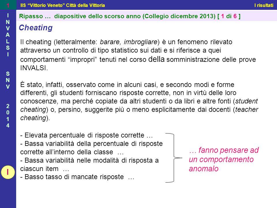 """IIS """"Vittorio Veneto"""" Città della Vittoria I risultati 1 INVALSISNV2014INVALSISNV2014 Ripasso … diapositive dello scorso anno (Collegio dicembre 2013)"""