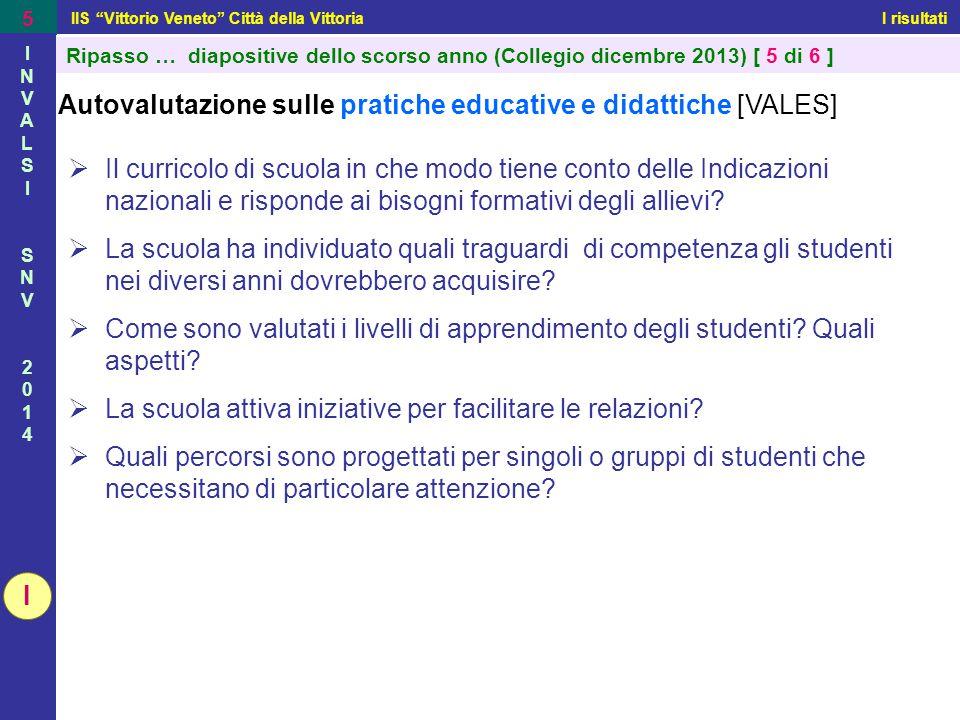"""IIS """"Vittorio Veneto"""" Città della Vittoria I risultati 5 INVALSISNV2014INVALSISNV2014 Autovalutazione sulle pratiche educative e didattiche [VALES] """