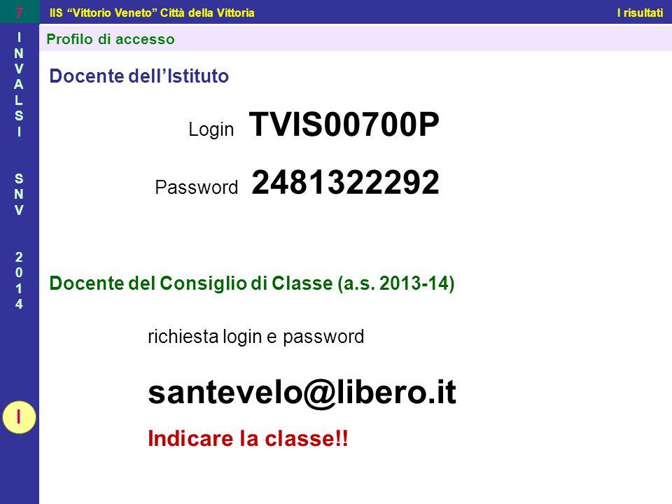 """IIS """"Vittorio Veneto"""" Città della Vittoria I risultati 7 INVALSISNV2014INVALSISNV2014 Profilo di accesso Docente dell'Istituto I Login TVIS00700P Pass"""