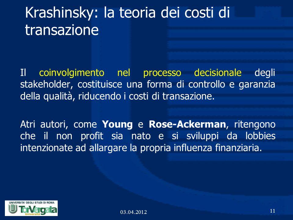 Krashinsky: la teoria dei costi di transazione Il coinvolgimento nel processo decisionale degli stakeholder, costituisce una forma di controllo e garanzia della qualità, riducendo i costi di transazione.