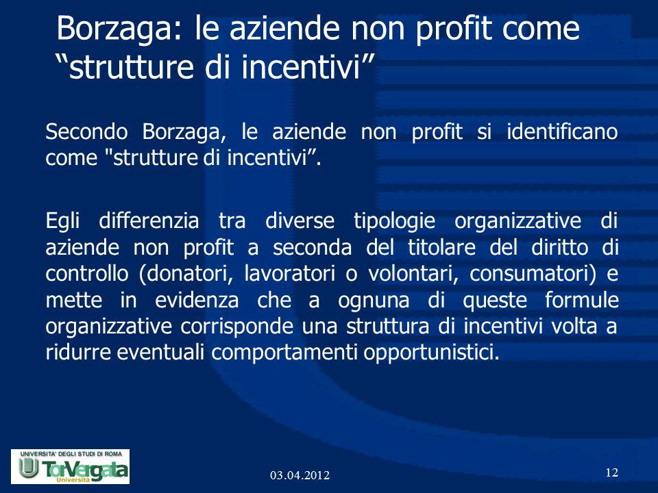 Borzaga: le aziende non profit come strutture di incentivi Secondo Borzaga, le aziende non profit si identificano come strutture di incentivi .