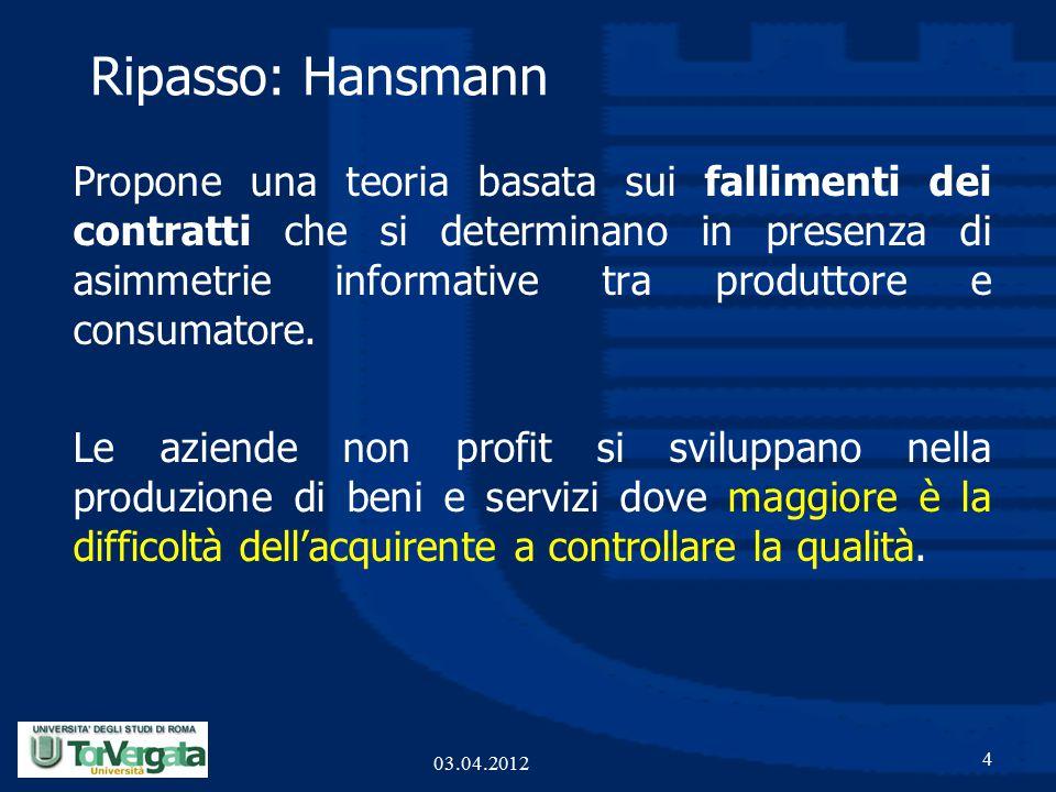 Ripasso: Hansmann Propone una teoria basata sui fallimenti dei contratti che si determinano in presenza di asimmetrie informative tra produttore e consumatore.