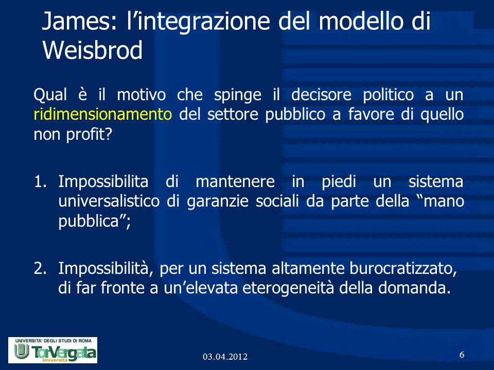 James: l'integrazione del modello di Weisbrod Qual è il motivo che spinge il decisore politico a un ridimensionamento del settore pubblico a favore di quello non profit.