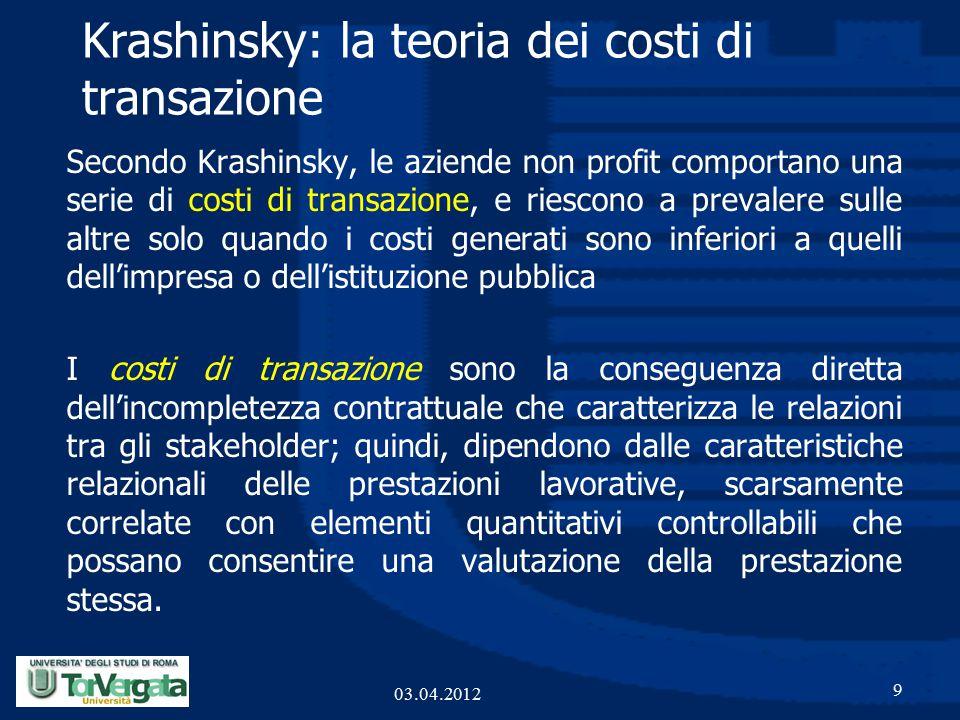 Krashinsky: la teoria dei costi di transazione Secondo Krashinsky, le aziende non profit comportano una serie di costi di transazione, e riescono a prevalere sulle altre solo quando i costi generati sono inferiori a quelli dell'impresa o dell'istituzione pubblica I costi di transazione sono la conseguenza diretta dell'incompletezza contrattuale che caratterizza le relazioni tra gli stakeholder; quindi, dipendono dalle caratteristiche relazionali delle prestazioni lavorative, scarsamente correlate con elementi quantitativi controllabili che possano consentire una valutazione della prestazione stessa.