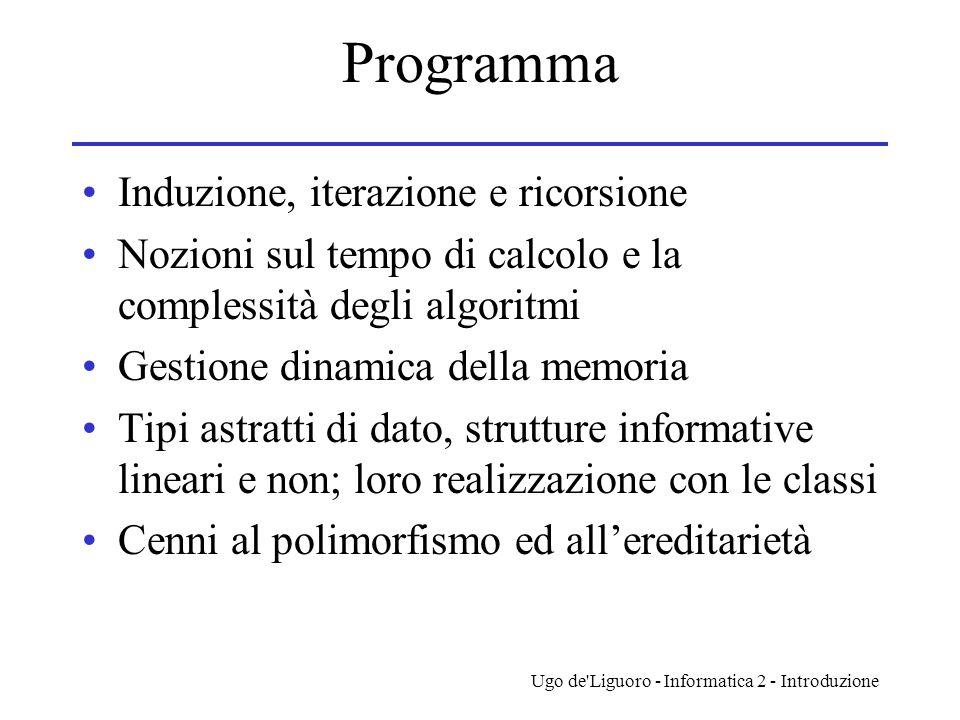 Ugo de'Liguoro - Informatica 2 - Introduzione Programma Induzione, iterazione e ricorsione Nozioni sul tempo di calcolo e la complessità degli algorit