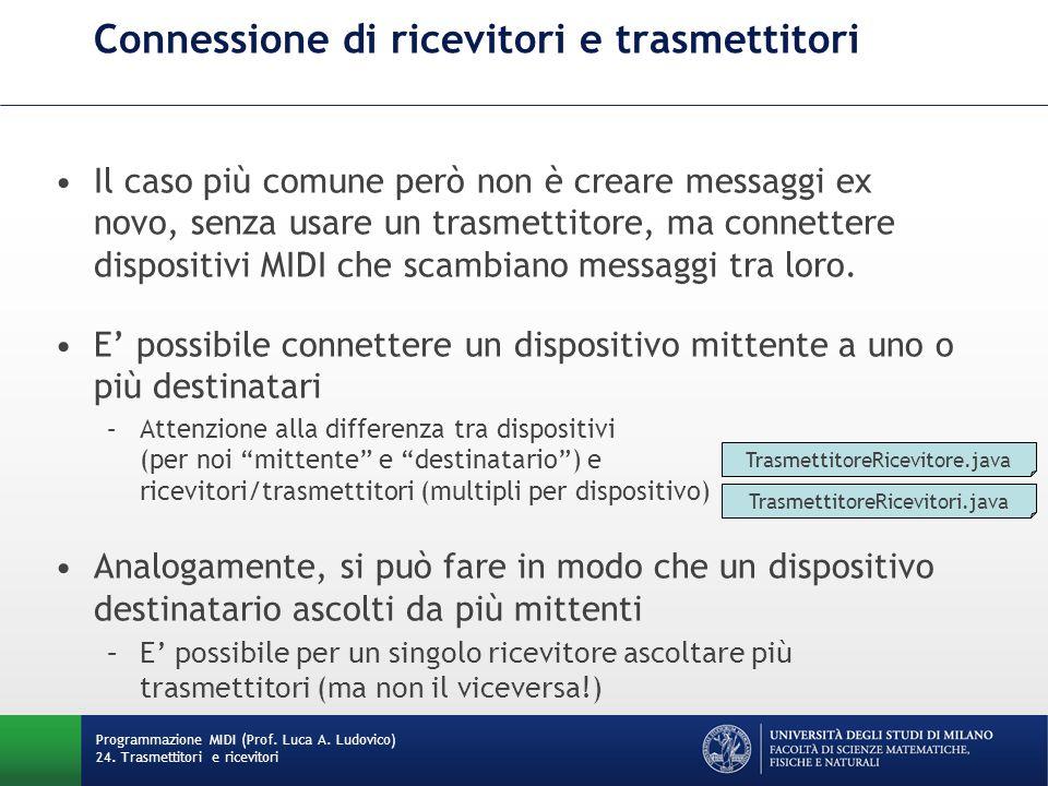 Connessione di ricevitori e trasmettitori Il caso più comune però non è creare messaggi ex novo, senza usare un trasmettitore, ma connettere dispositivi MIDI che scambiano messaggi tra loro.