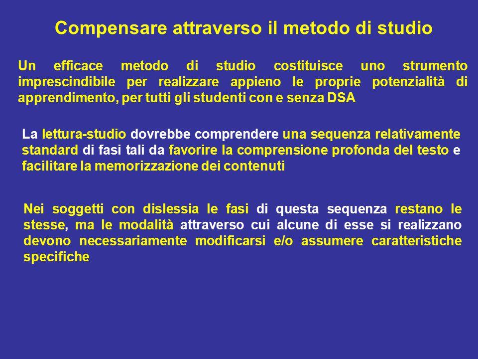 Compensare attraverso il metodo di studio Un efficace metodo di studio costituisce uno strumento imprescindibile per realizzare appieno le proprie pot