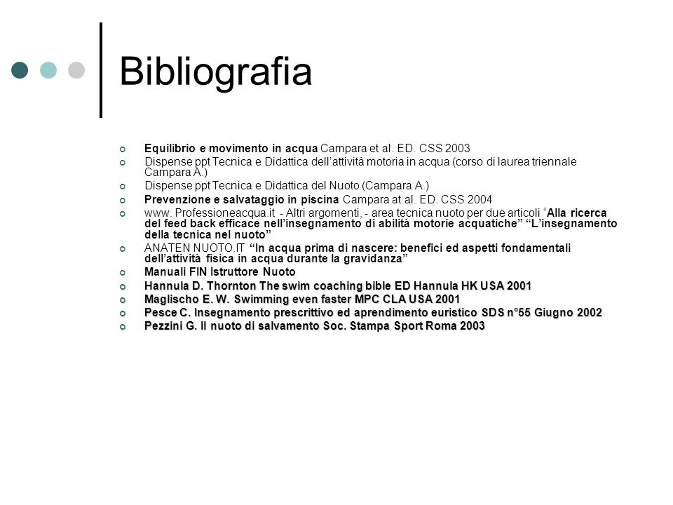 Bibliografia Equilibrio e movimento in acqua Campara et al.