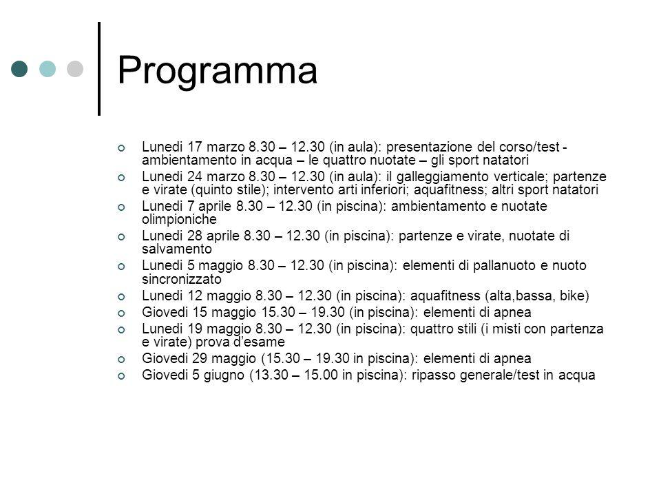 Programma Lunedi 17 marzo 8.30 – 12.30 (in aula): presentazione del corso/test - ambientamento in acqua – le quattro nuotate – gli sport natatori Lune