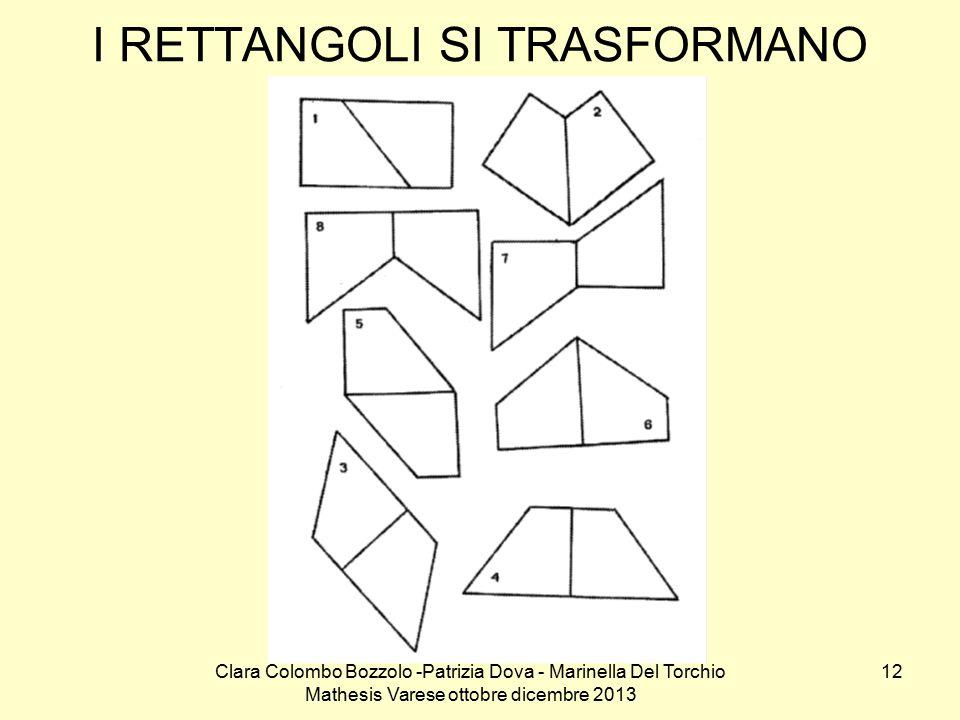 Clara Colombo Bozzolo -Patrizia Dova - Marinella Del Torchio Mathesis Varese ottobre dicembre 2013 12 I RETTANGOLI SI TRASFORMANO