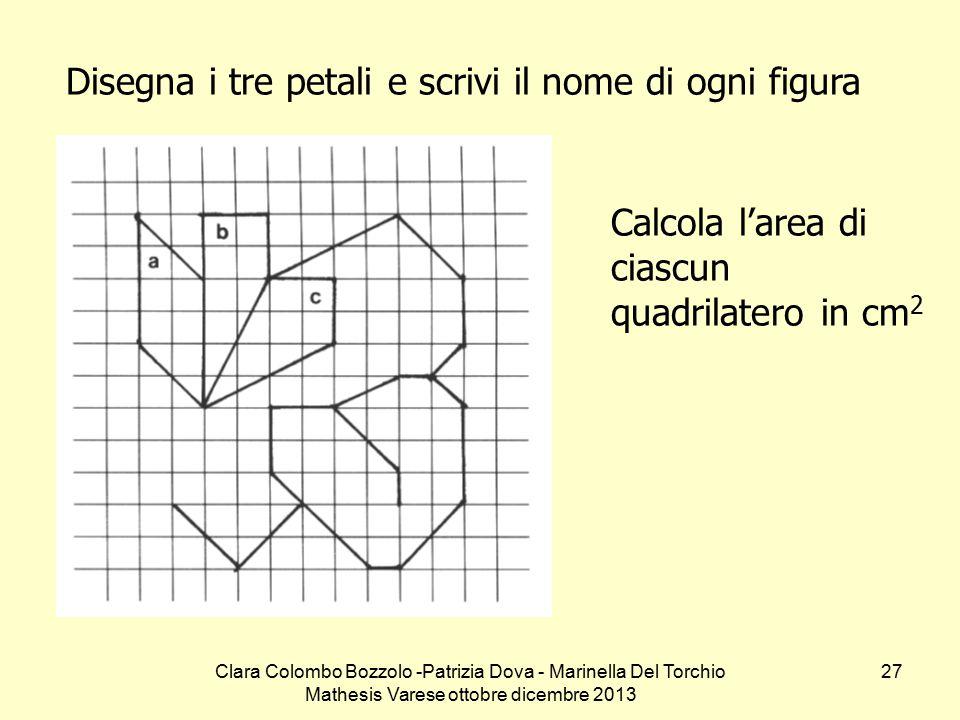 Clara Colombo Bozzolo -Patrizia Dova - Marinella Del Torchio Mathesis Varese ottobre dicembre 2013 27 Disegna i tre petali e scrivi il nome di ogni fi