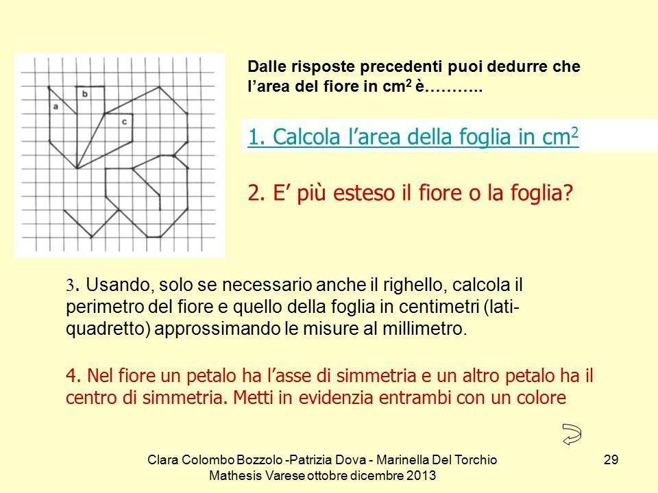 Clara Colombo Bozzolo -Patrizia Dova - Marinella Del Torchio Mathesis Varese ottobre dicembre 2013 29 1. Calcola l'area della foglia in cm 2 4. Nel fi