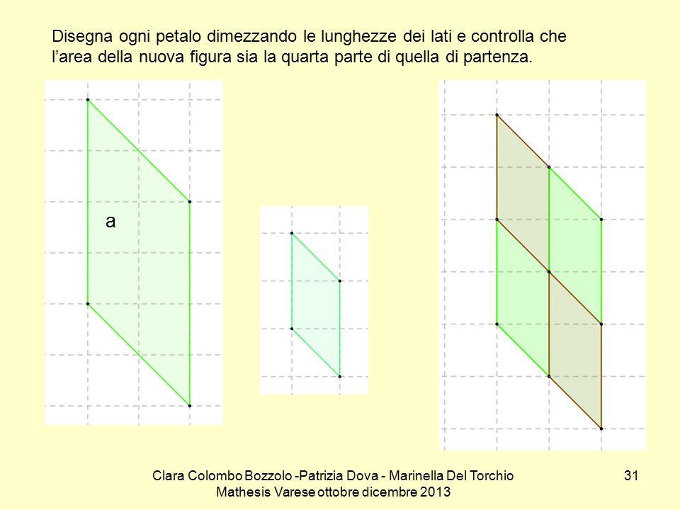 Clara Colombo Bozzolo -Patrizia Dova - Marinella Del Torchio Mathesis Varese ottobre dicembre 2013 31 Disegna ogni petalo dimezzando le lunghezze dei