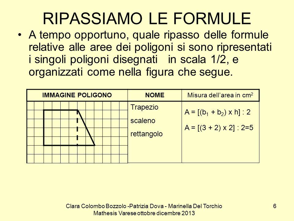 Clara Colombo Bozzolo -Patrizia Dova - Marinella Del Torchio Mathesis Varese ottobre dicembre 2013 7 IMMAGINE POLIGONONOMEMisura dell'area in cm 2 Quadrilatero concavo A = b x h 2,2 x 1,8 3,96 A 2 = (b 2 x h 2 ) : 2= (1 x 1) : 2= 0,50 A tot = A 1 + A 2 = 2 + 0,50= 2,50 Trapezio scaleno A = [(b 1 + b 2 ) x h] : 2 A = [(4 + 4,5) x 1] : 2=4,25 Rombo Calcolo l'area in due modo diversi A = (d 1 x d 2 ) : 2= (4 x 2) : 2= 4 A 1 = (b 1 x h 1 ) : 2= (2 x 2) : 2= 2