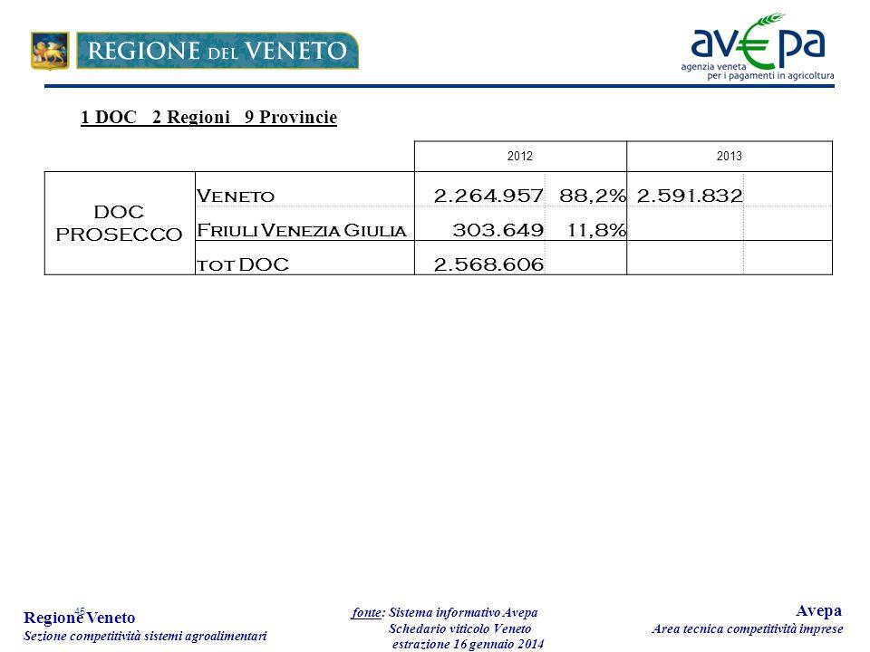 45 Regione Veneto Sezione competitività sistemi agroalimentari fonte: Sistema informativo Avepa Schedario viticolo Veneto estrazione 16 gennaio 2014 Avepa Area tecnica competitività imprese 20122013 DOC PROSECCO Veneto2.264.95788,2%2.591.832 Friuli Venezia Giulia303.64911,8% tot DOC2.568.606 1 DOC 2 Regioni 9 Provincie