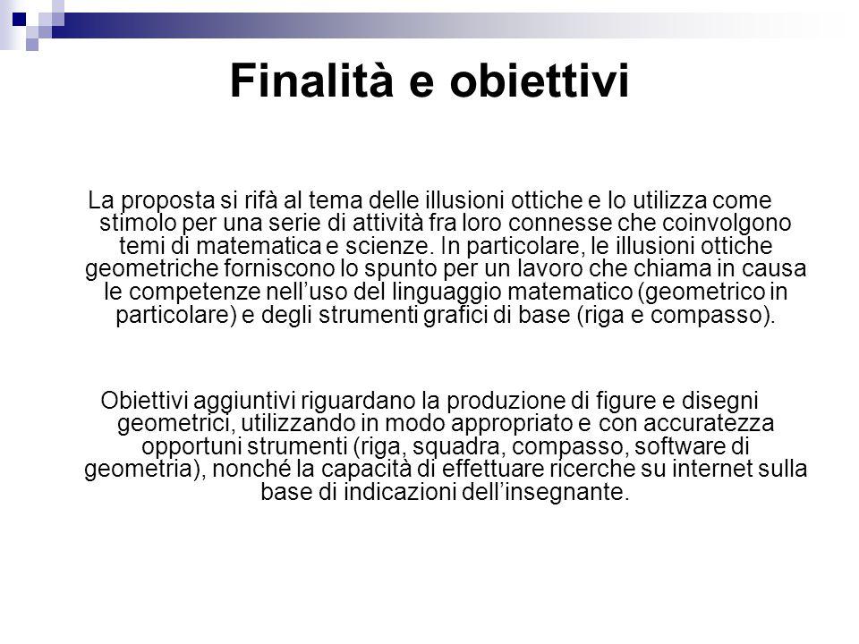 Finalità e obiettivi La proposta si rifà al tema delle illusioni ottiche e lo utilizza come stimolo per una serie di attività fra loro connesse che co