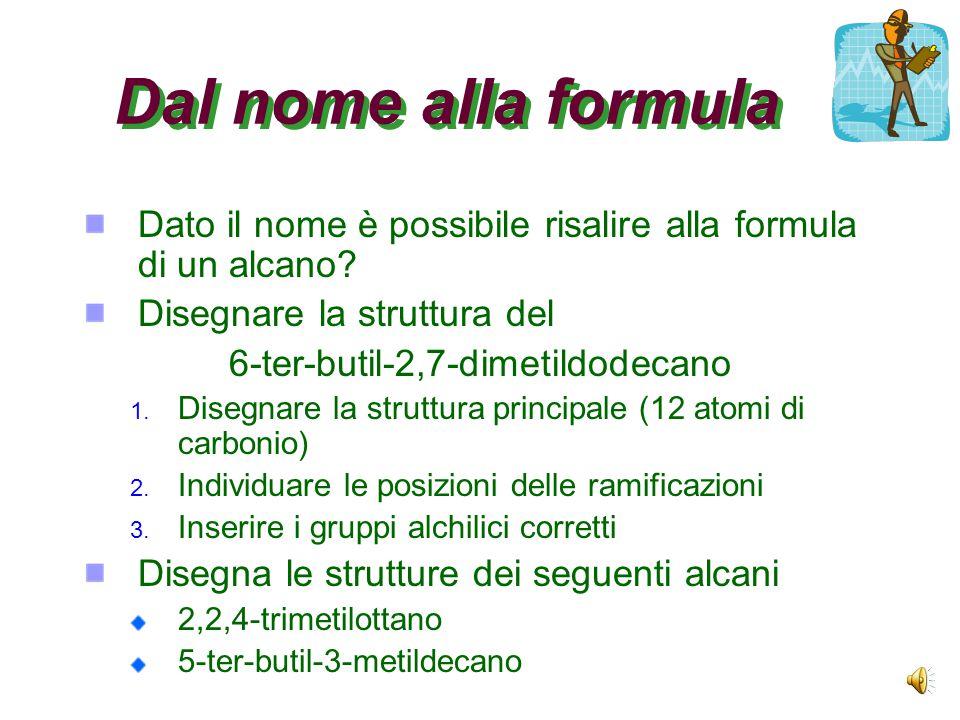 Dal nome alla formula Dato il nome è possibile risalire alla formula di un alcano.