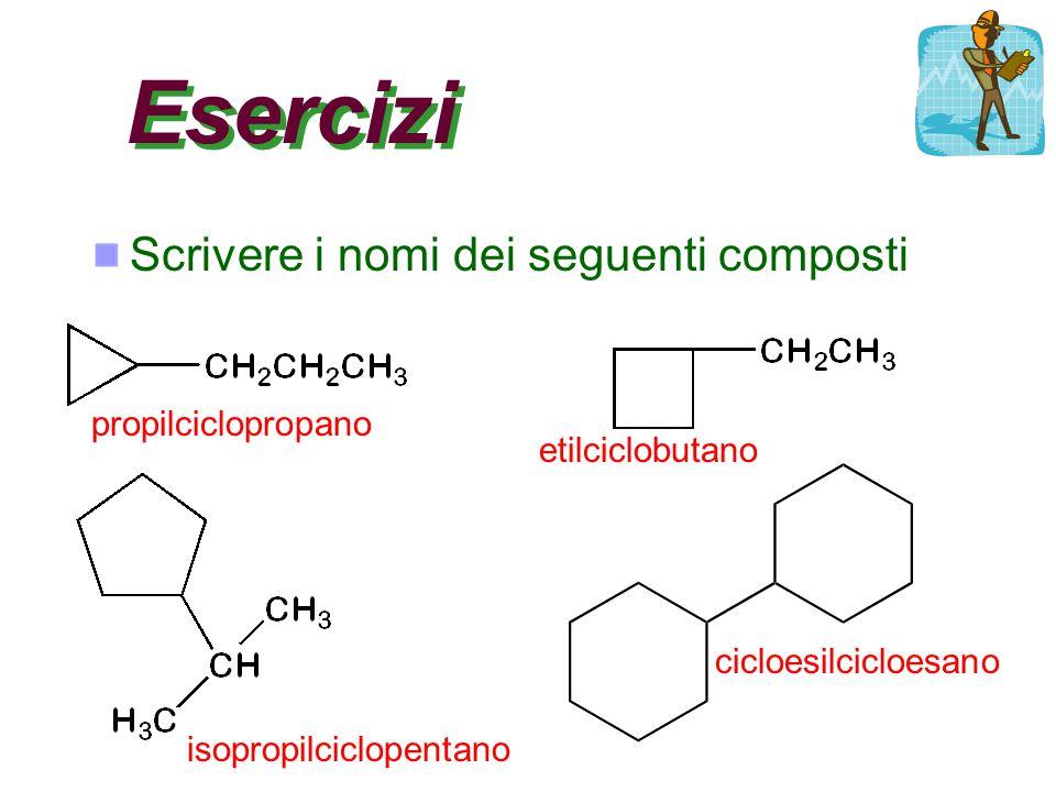 Esercizi Scrivere i nomi dei seguenti composti propilciclopropano etilciclobutano isopropilciclopentano cicloesilcicloesano