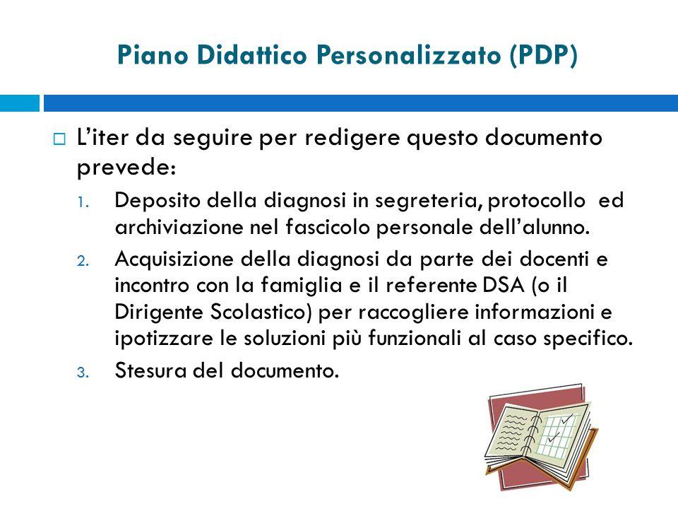 Piano Didattico Personalizzato (PDP)  L'iter da seguire per redigere questo documento prevede: 1.