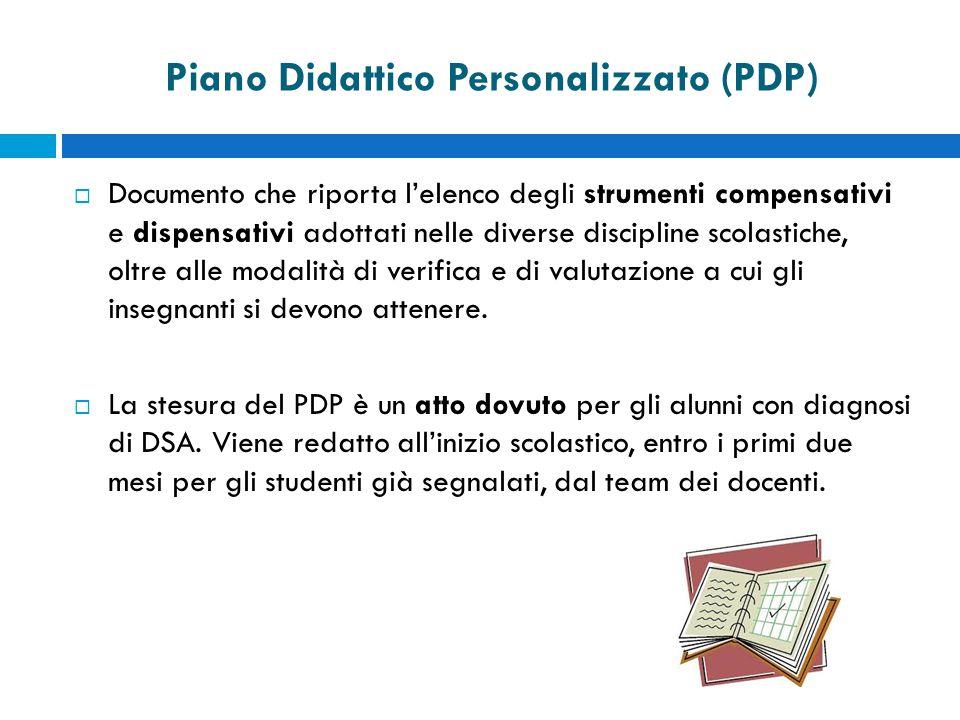 Piano Didattico Personalizzato (PDP)  Documento che riporta l'elenco degli strumenti compensativi e dispensativi adottati nelle diverse discipline scolastiche, oltre alle modalità di verifica e di valutazione a cui gli insegnanti si devono attenere.