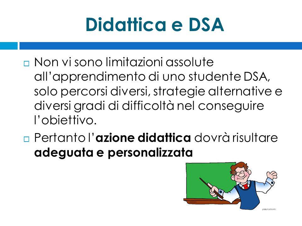 Didattica e DSA  Non vi sono limitazioni assolute all'apprendimento di uno studente DSA, solo percorsi diversi, strategie alternative e diversi gradi di difficoltà nel conseguire l'obiettivo.