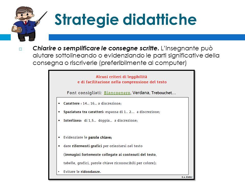 Strategie didattiche  Chiarire o semplificare le consegne scritte.