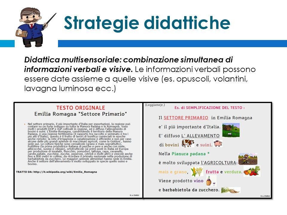 Strategie didattiche Didattica multisensoriale: combinazione simultanea di informazioni verbali e visive.