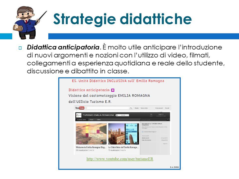 Strategie didattiche  Didattica anticipatoria.