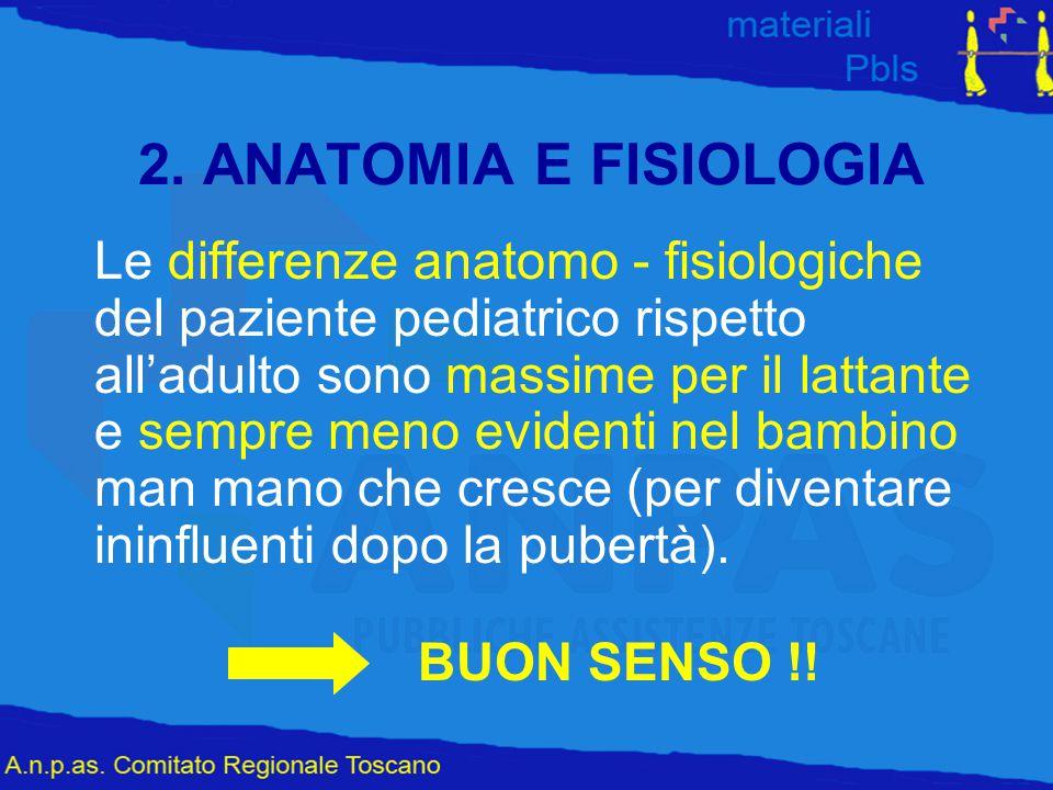 2. ANATOMIA E FISIOLOGIA Le differenze anatomo - fisiologiche del paziente pediatrico rispetto all'adulto sono massime per il lattante e sempre meno e