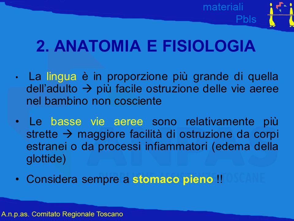2. ANATOMIA E FISIOLOGIA La lingua è in proporzione più grande di quella dell'adulto  più facile ostruzione delle vie aeree nel bambino non cosciente