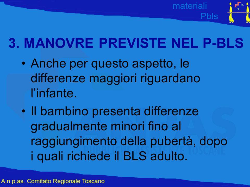 3. MANOVRE PREVISTE NEL P-BLS Anche per questo aspetto, le differenze maggiori riguardano l'infante. Il bambino presenta differenze gradualmente minor