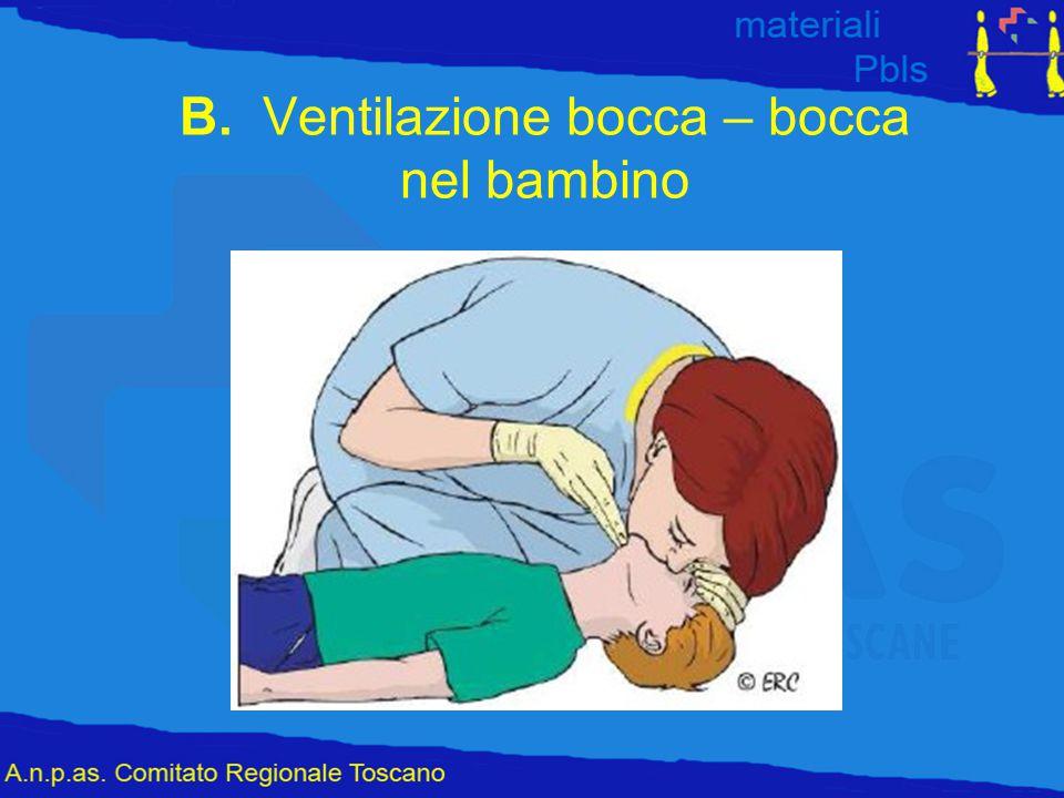 B. Ventilazione bocca – bocca nel bambino