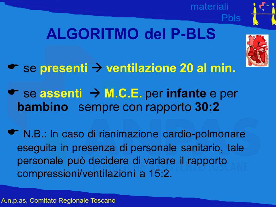 ALGORITMO del P-BLS  se presenti  ventilazione 20 al min.  se assenti  M.C.E. per infante e per bambino sempre con rapporto 30:2  N.B.: In caso d