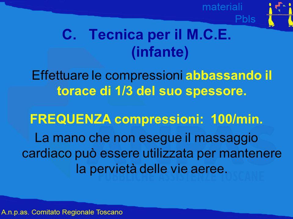 C.Tecnica per il M.C.E. (infante) Effettuare le compressioni abbassando il torace di 1/3 del suo spessore. FREQUENZA compressioni: 100/min. La mano ch