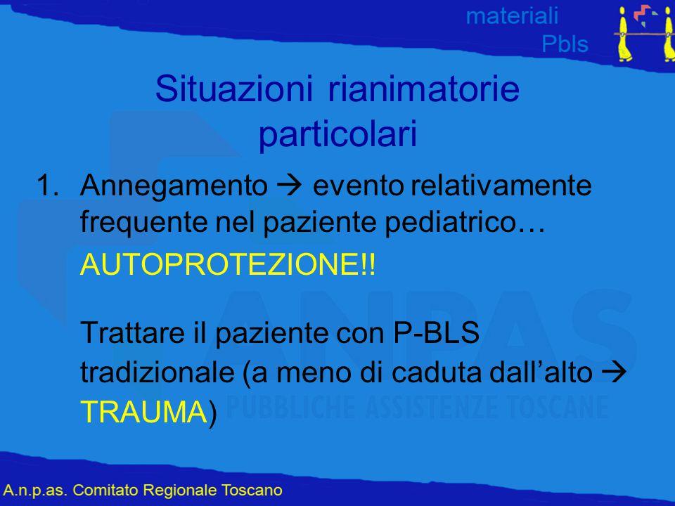Situazioni rianimatorie particolari 1.Annegamento  evento relativamente frequente nel paziente pediatrico… AUTOPROTEZIONE!! Trattare il paziente con