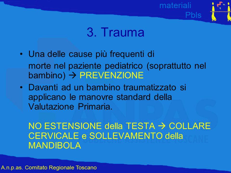3. Trauma Una delle cause più frequenti di morte nel paziente pediatrico (soprattutto nel bambino)  PREVENZIONE Davanti ad un bambino traumatizzato s