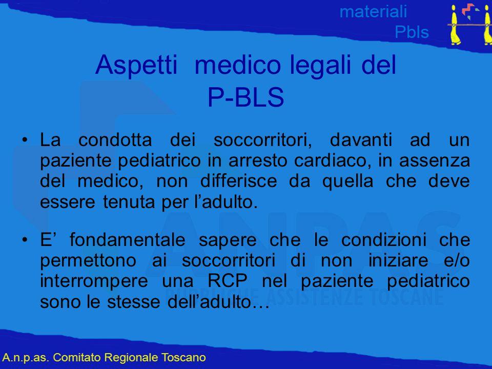 Aspetti medico legali del P-BLS La condotta dei soccorritori, davanti ad un paziente pediatrico in arresto cardiaco, in assenza del medico, non differ