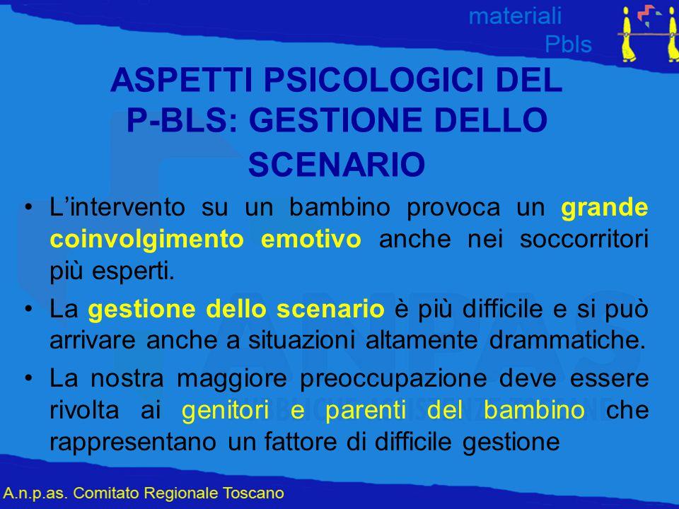 ASPETTI PSICOLOGICI DEL P-BLS: GESTIONE DELLO SCENARIO L'intervento su un bambino provoca un grande coinvolgimento emotivo anche nei soccorritori più