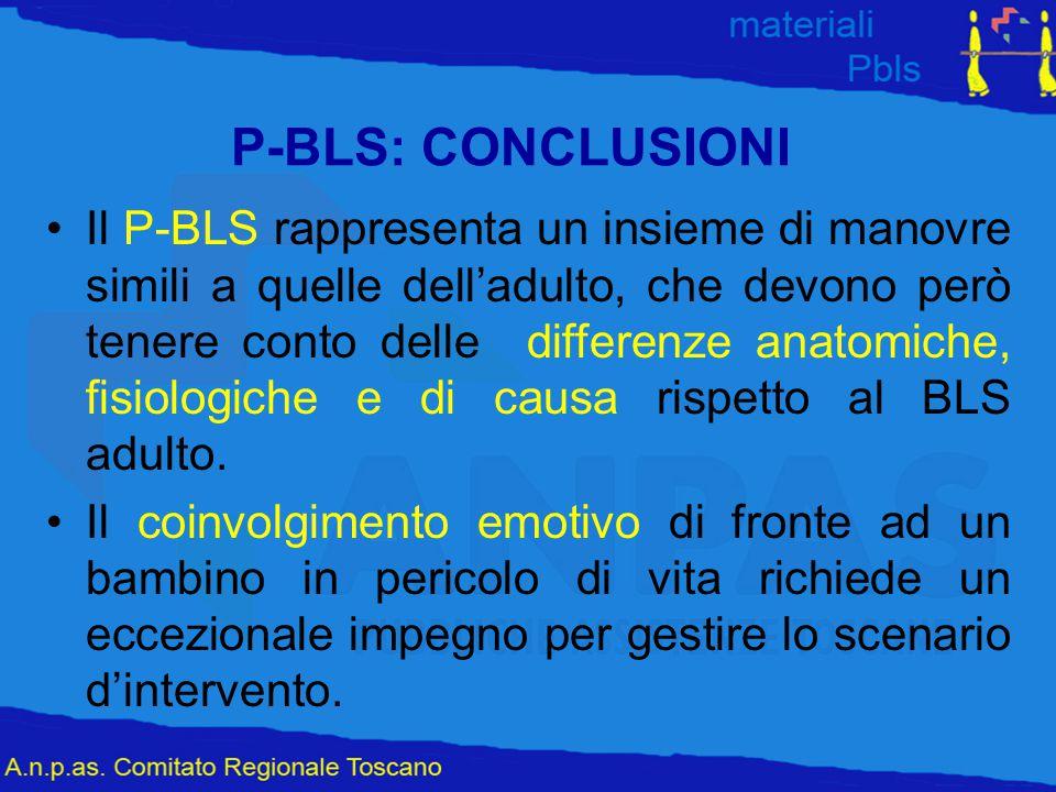 P-BLS: CONCLUSIONI Il P-BLS rappresenta un insieme di manovre simili a quelle dell'adulto, che devono però tenere conto delle differenze anatomiche, f
