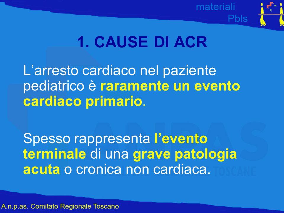 1. CAUSE DI ACR L'arresto cardiaco nel paziente pediatrico è raramente un evento cardiaco primario. Spesso rappresenta l'evento terminale di una grave