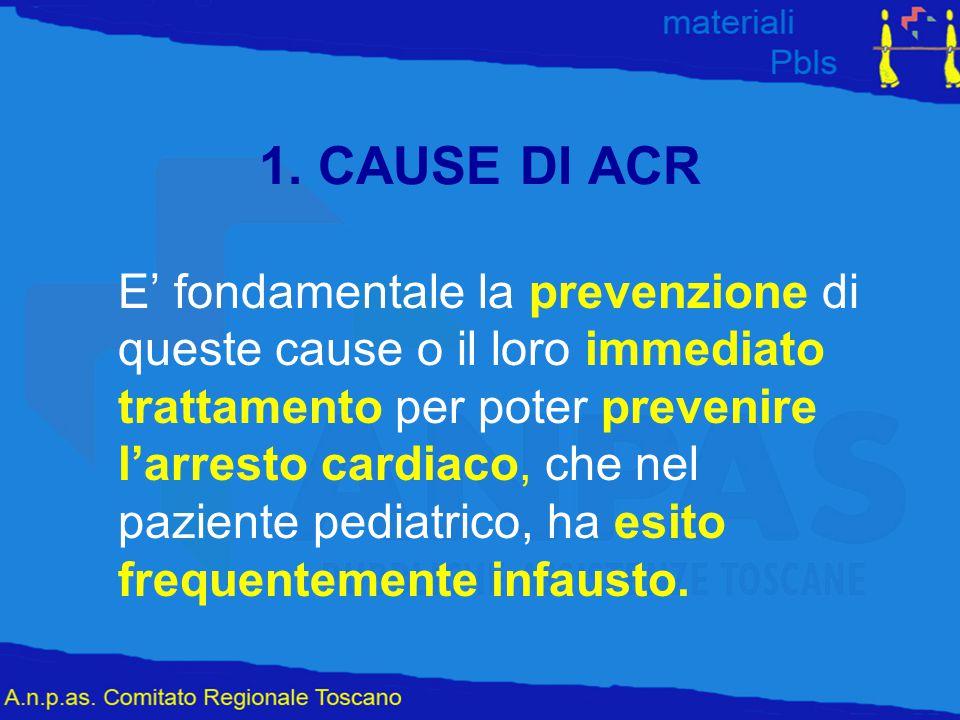 1. CAUSE DI ACR E' fondamentale la prevenzione di queste cause o il loro immediato trattamento per poter prevenire l'arresto cardiaco, che nel pazient