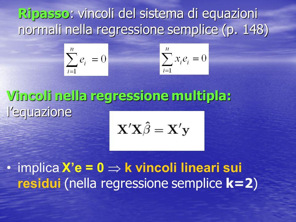 Ripasso: vincoli del sistema di equazioni normali nella regressione semplice (p. 148) Vincoli nella regressione multipla: l'equazione implica X'e = 0