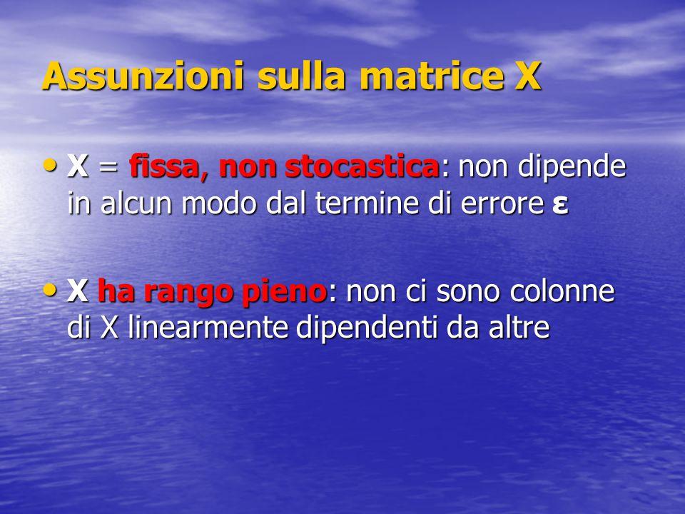 Assunzioni sulla matrice X X = fissa, non stocastica: non dipende in alcun modo dal termine di errore ε X = fissa, non stocastica: non dipende in alcu